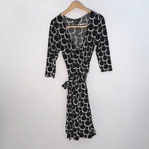 Black and White A-line wrap dress